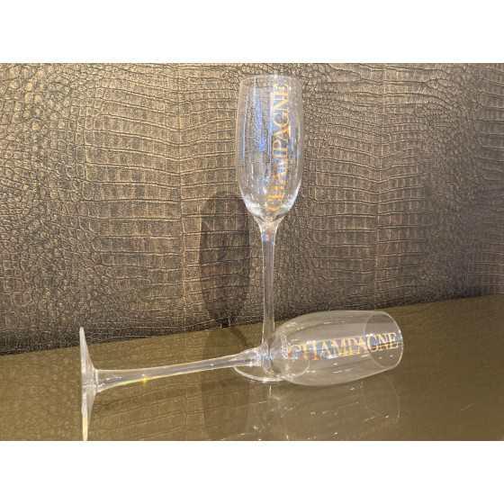 Champagne glas transparant met goud