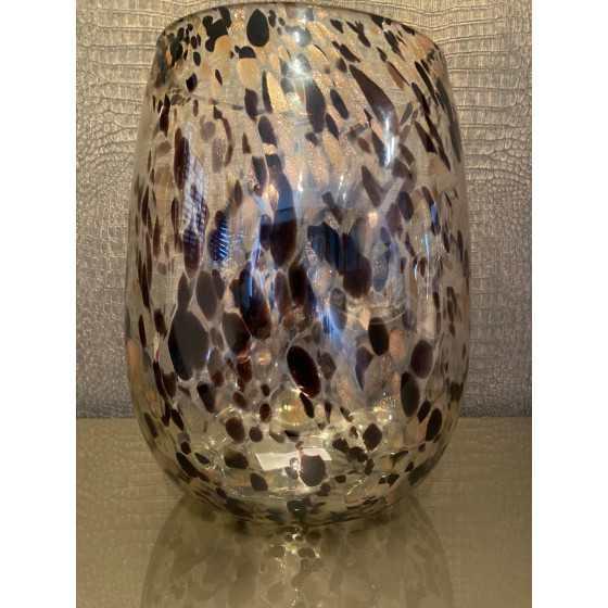 Cheetah vaas XL transparant met brons/goud 32cm