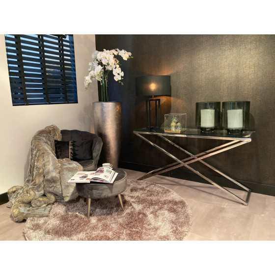 X-Legs Side Table Sidetable Chromen Onderstel met Glasplaat 140x40cm