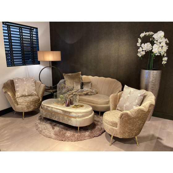Luxury Schelp Eetbank | Shell Mamba 2 met gouden poten