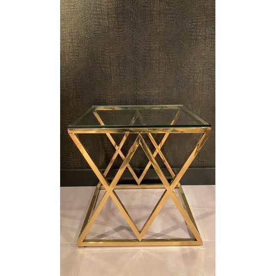 Jaxx bijzettafel 55x55x55 inclusief glasplaat goud