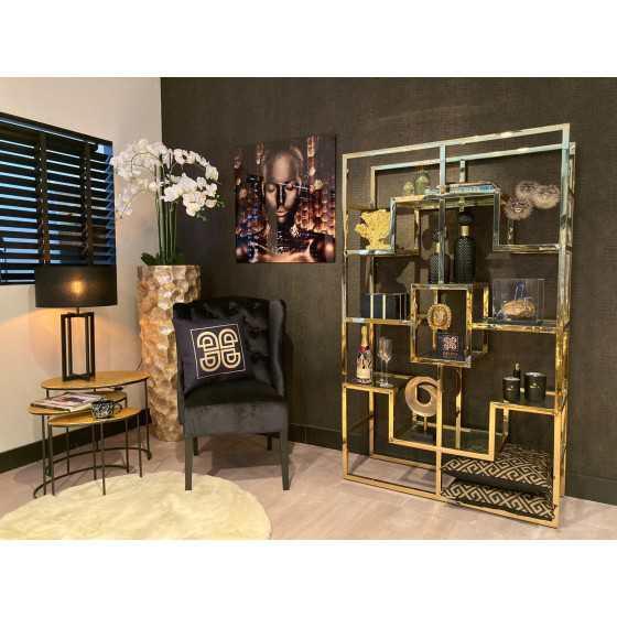 Nisa wandkast goud met glasplaten 185x100