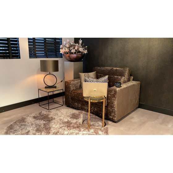 Gouden Bijzettafel Laptop tafel rond met glas 40x40x55