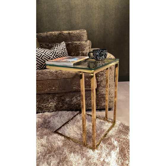 Gouden laptop tafel met glasplaat 40x40x60 (LxBxH) FA