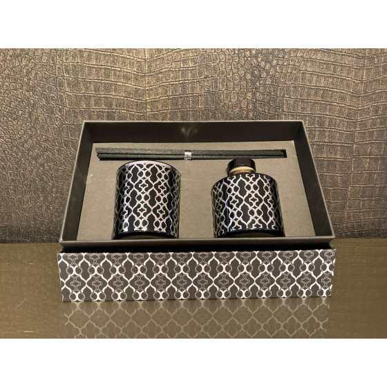 J-line giftbox zilver/grey Kaars en Geurstokjes