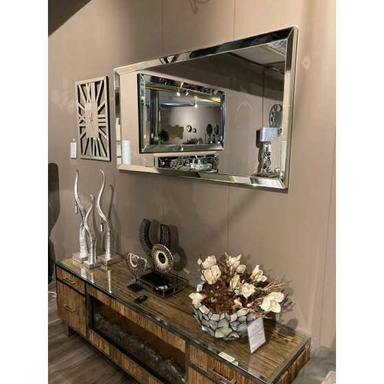 Spiegel met Spiegellijst zilver 150x80 | Metropolitan Luxury Stijl | Spiegel Zijkant