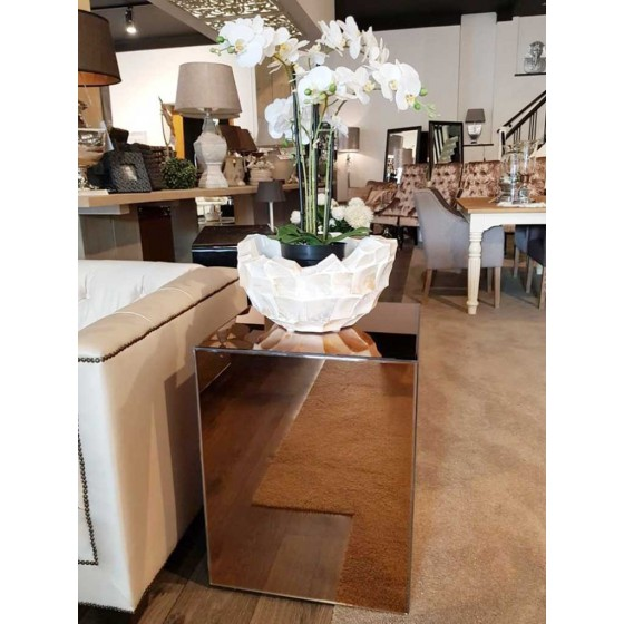 Bijzettafel 50x50x65cm Spiegel Metropolitan Luxury Stijl | Brons, Zilver en Antraciet
