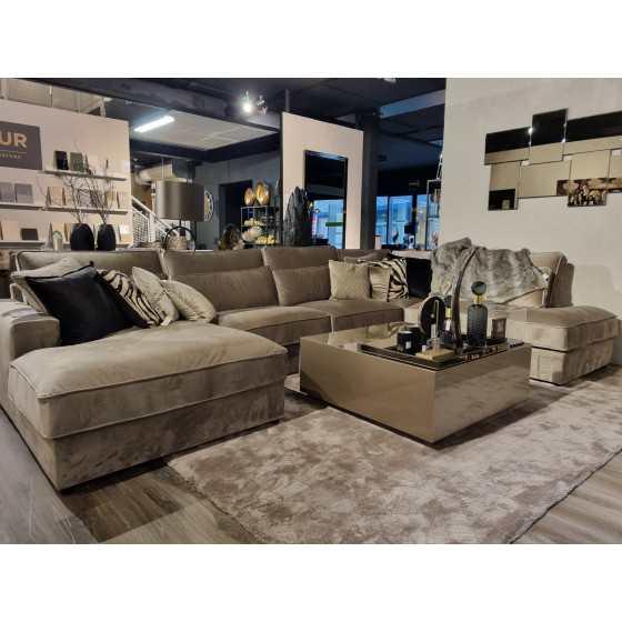 U-bank | Loungebank | St. Tropez Amterdam stof | Pocketvering | 180x400x250cm