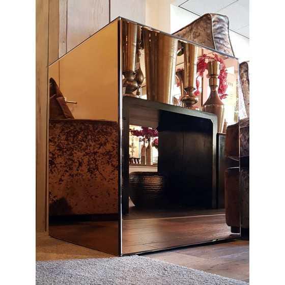 Bijzettafel 50x50x65cm Spiegel Eric Kuster Stijl | Brons, Zilver en Antraciet