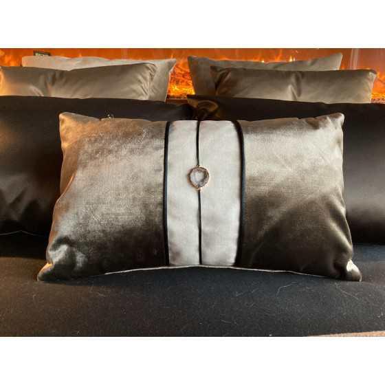 Brons Kussen Luxus stone taupe 50x30