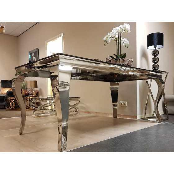 Eettafel Polo 160x90x75cm met Zilver Chromen Barok Queen Ann Poten
