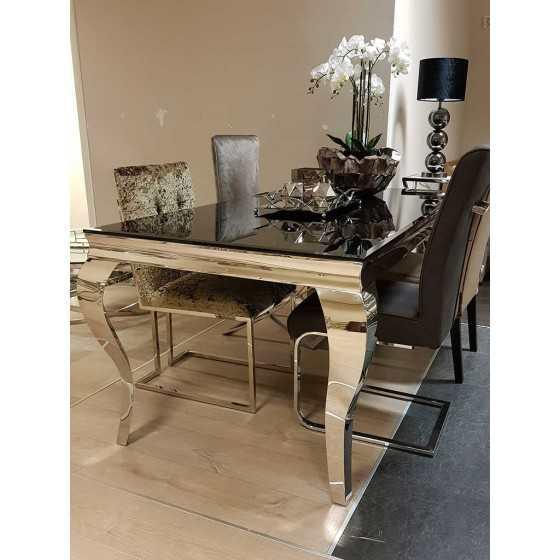 Eettafel Polo 220x90x75cm met Zilver Chromen Barok Queen Ann Poten