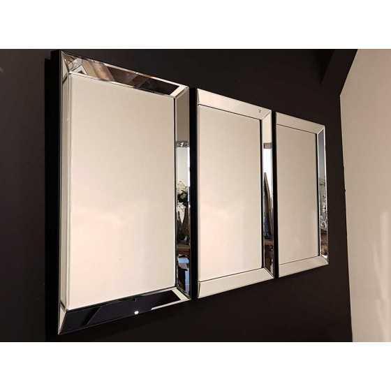 Spiegel met Spiegellijst Zilver 90x70cm | Metropolitan Luxury Stijl | Zwart Fluwelen Rand