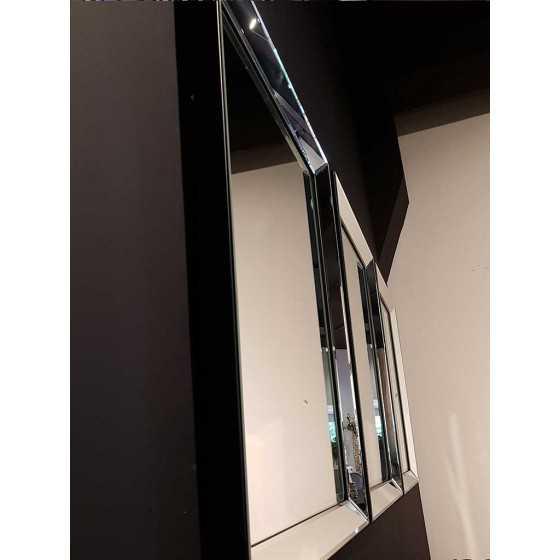 Spiegel met Spiegellijst Zilver 50x50cm | Metropolitan Luxury Stijl | Zwart Fluwelen Rand