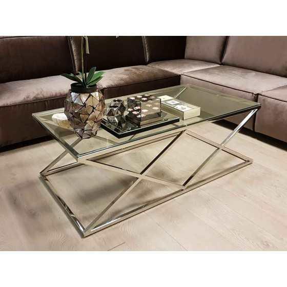 Salontafel 130x70x45cm Zilver Chroom met Glasplaat Model Jaxx