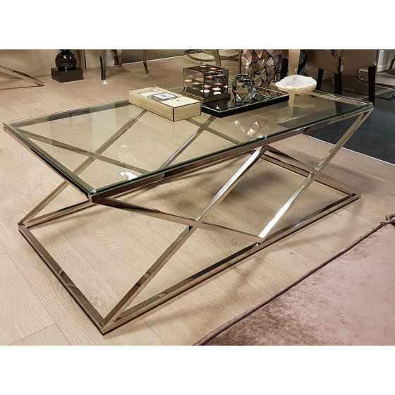 Salontafel Chroom Met Glas.Salontafel 130x70x45cm Zilver Chroom Met Glasplaat Model Jaxx