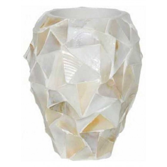 """Schelpenvaas Small """"Mother of Pearl White"""" 24cm"""