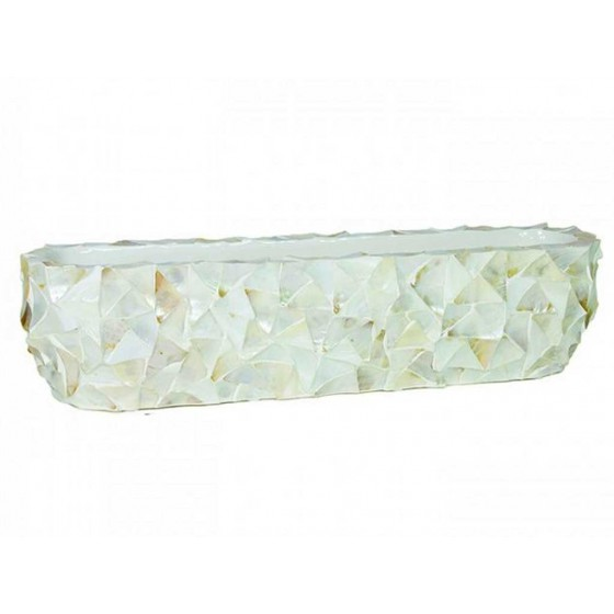 "Schelpenvaas Schuit ""Mother of Pearl White"" 90cm"
