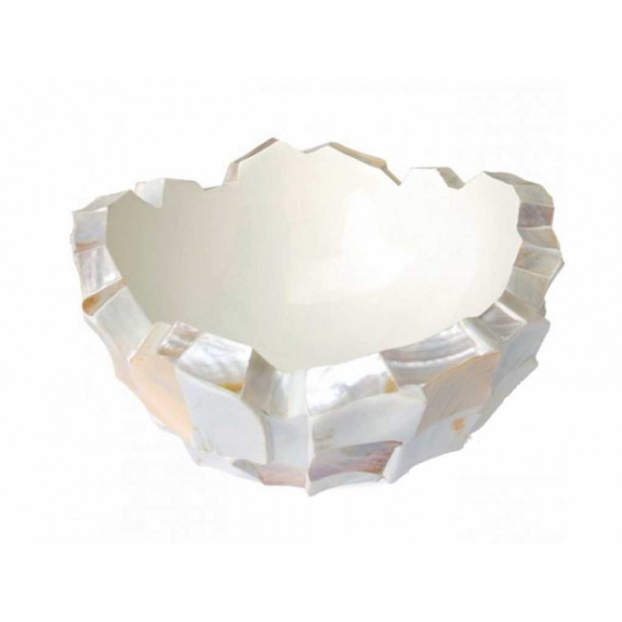 """Schelpenvaas Bowl """"Mother of Pearl White"""" 60cm"""