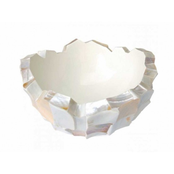 "Schelpenvaas Bowl ""Mother of Pearl White"" 40cm"