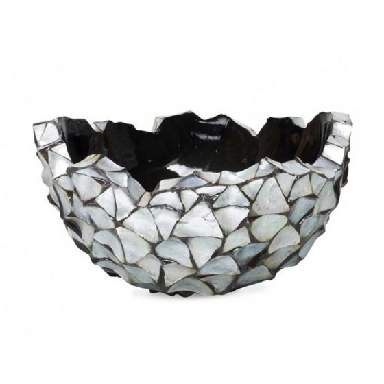 "Schelpenvaas Bowl ""Mother of Pearl Silver"" 60cm"