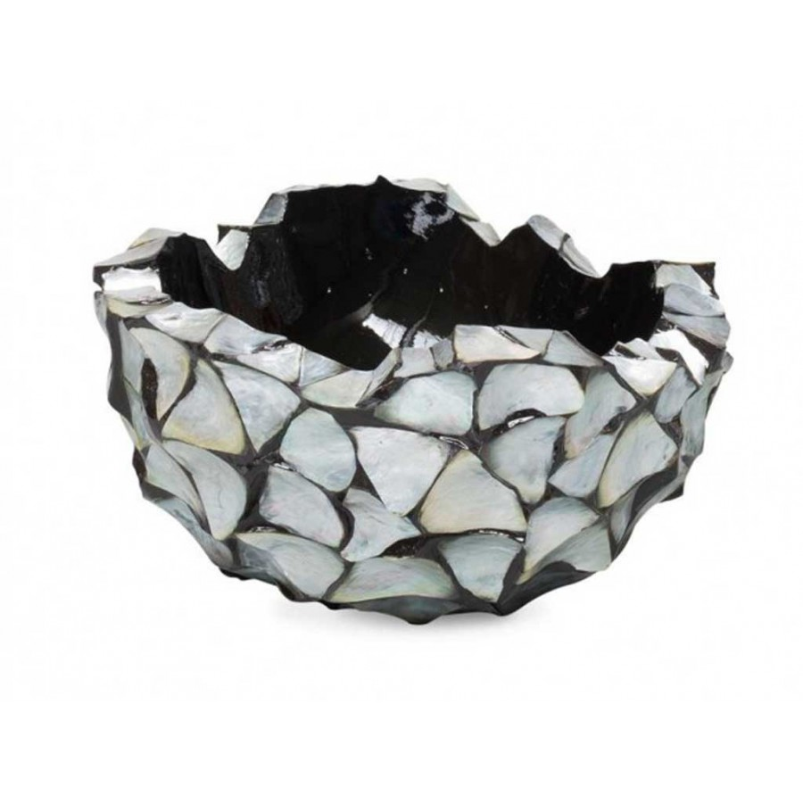 """Schelpenvaas Bowl """"Mother of Pearl Silver"""" 40cm"""