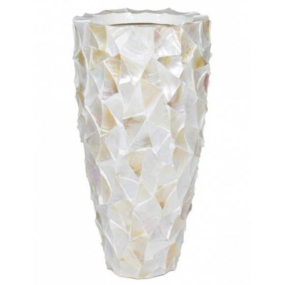 "Schelpenvaas ""Mother of Pearl White"" 77cm Hoog"