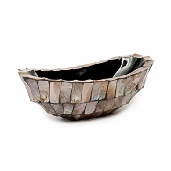 "Schelpenvaas Kleine Boot ""Mother of Pearl Brown"" 46cm"