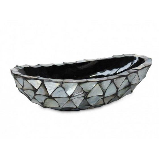 "Schelpenvaas Kleine Boot ""Mother of Pearl Silver"" 46cm"