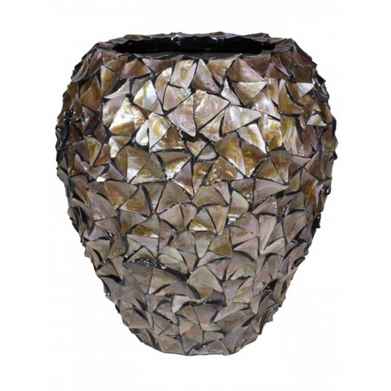 "Schelpenvaas Bruin Pot Groot ""Mother of Pearl Brown"" 80cm"