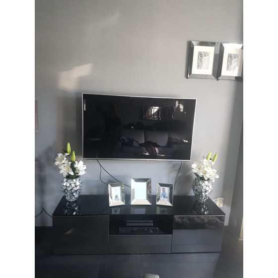 TV-Meubel 160x40cm Spiegel met Zwart Glas | Zilver of Brons