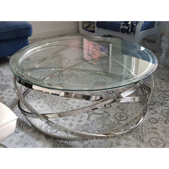 Salontafel Rond Model Julia | Rose-Goud & Zilver Chroom | Glasplaat Transparant, Wit en Zwart