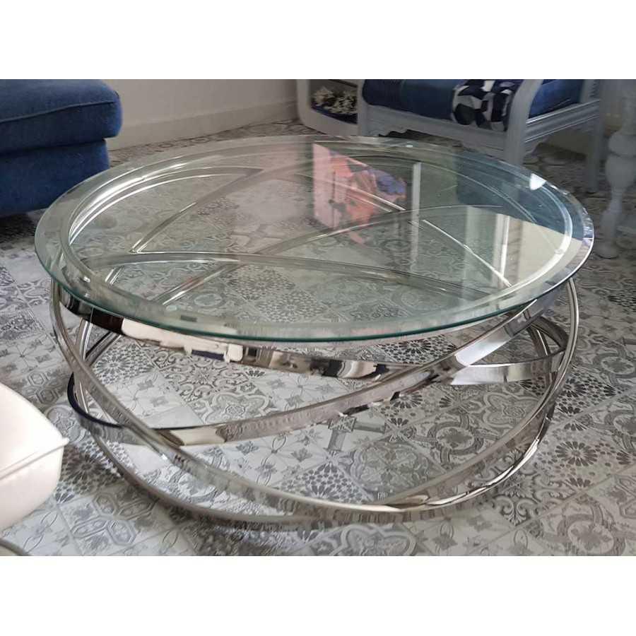 Salontafel Rond Model Calvin  Goud of Zilver Chroom   Glasplaat Transparant, Wit of Zwart