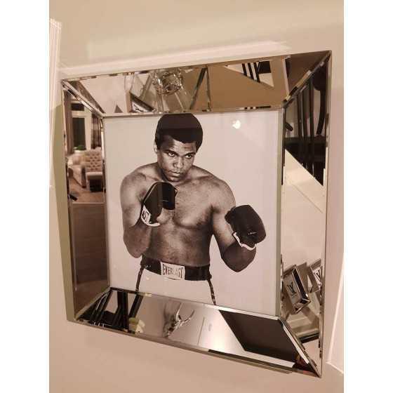 Fotolijst met Spiegellijst en Spiegel Zijkant Zilver 50x50cm | Muhammed Ali | Metropolitan Luxury Stijl