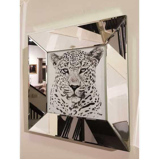 Fotolijst met Spiegellijst en Spiegel Zijkant Zilver 40x40cm | Panter | Metropolitan Luxury Stijl