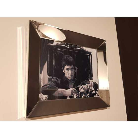 Fotolijst met Spiegellijst en Spiegel Zijkant Zilver 60x50cm | Scarface | Metropolitan Luxury Stijl