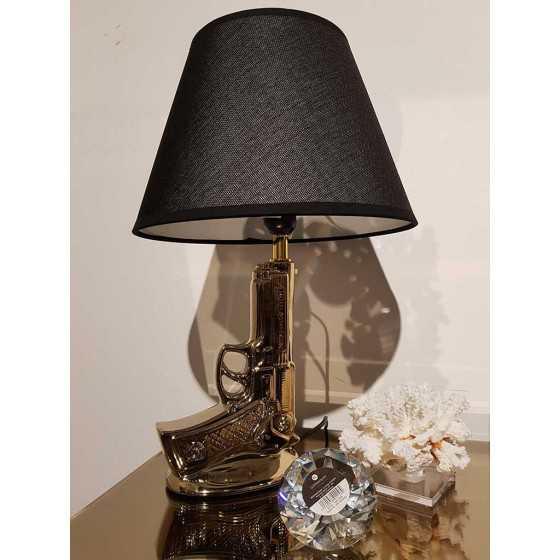 Pistool 9mm Tafellamp Goud met Zwarte Kap