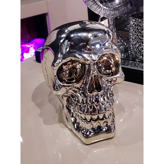 Skull Bank Bling 15cm Shiny Zilver