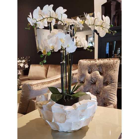 Levensechte Kunst Orchidee Wit in Zwarte Pot met Bladeren Groot 4 Takken