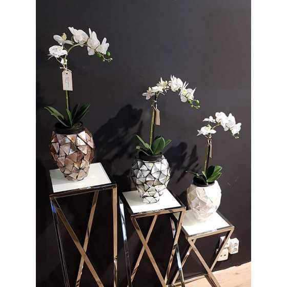 Levensechte Kunst Orchidee Wit in Zwarte Pot met Bladeren Klein 1 Tak