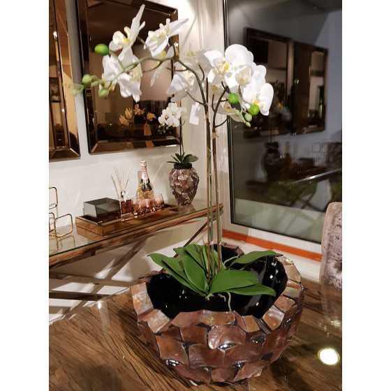 Levensechte Kunst Orchidee Wit in Zwarte Pot met Bladeren Middel 2 Tak