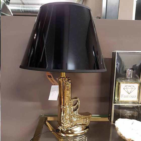 Pistool 9mm Tafellamp Goud exclusief kap