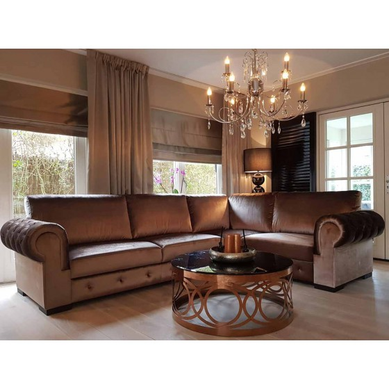 Hoekbank | Bankstel | Loungebank | Model Chesterfield | Brons Velours
