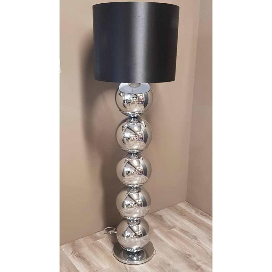 Bollenlamp zilver met ronde voet inclusief kap XL 165cm