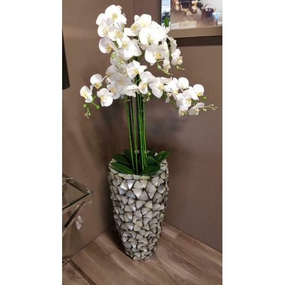 Levensechte Kunst Orchidee Wit in Zwarte Pot XL