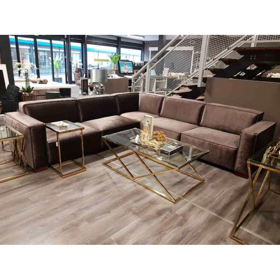 Bankstel| Hoekbank | Loungebank | Model Toscane | Brons Velours