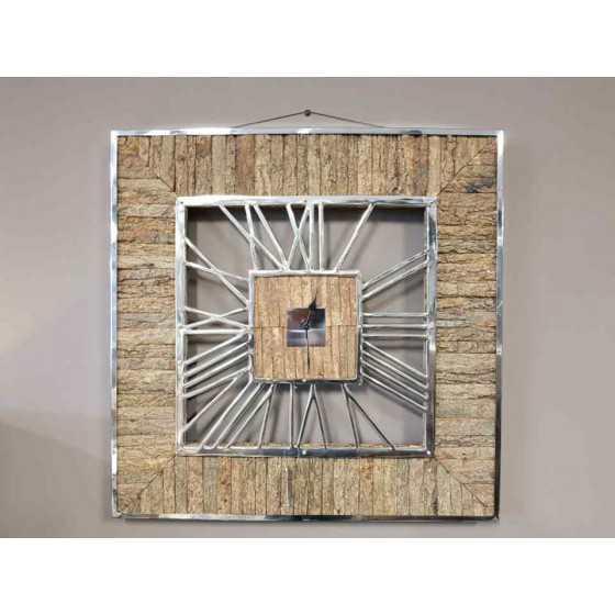 Rixos Wandklok XL 75x75cm Zilver Chroom en Wooden Plaatwerk