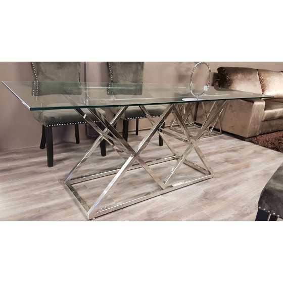 Eettafel Jaxx Zilver onderstel met glasplaat 180x90