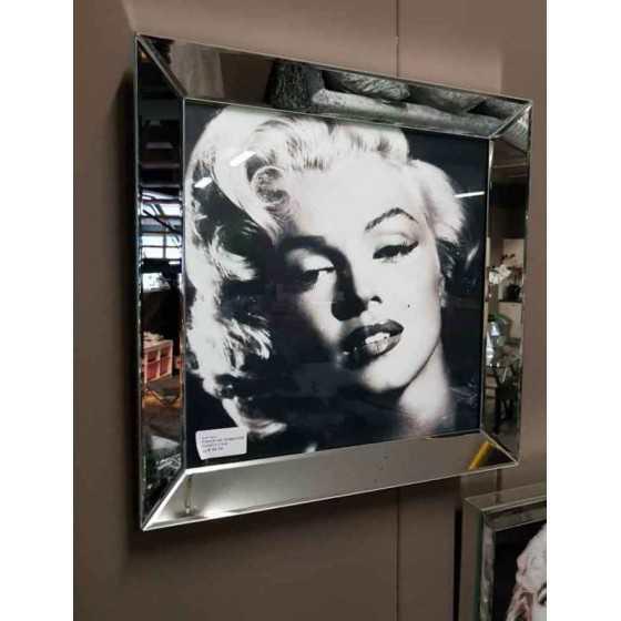 Fotolijst met Spiegelrand 50x50cm Zilver | Marilyn Monroe 2