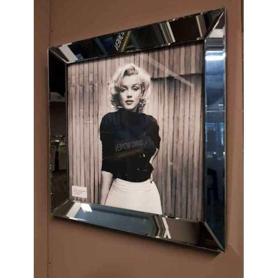 Fotolijst met Spiegelrand 50x50cm Antraciet | Marilyn Monroe